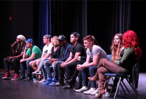 Starting off the High School Nation assembly, the artists first introduce themselves giving a little insight into what they are involved in. Photo by Karen Pegueros