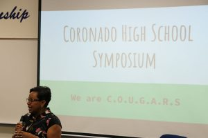 Mrs. Jackson welcomes students to the symposium during third period. Photo by Lorin Enns