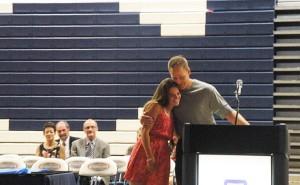 Sara Dort receives female athlete award from Mr. Tondryk.  (Photo by Ashly Riches)