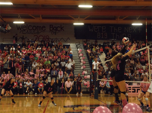 Going up for a spike, Cali Thompson, senior, wears pink to show her support against the fight for breast cancer during the Dig Pink game against Green Valley high school n the gymnasium on Tuesday, Oct. 13.
