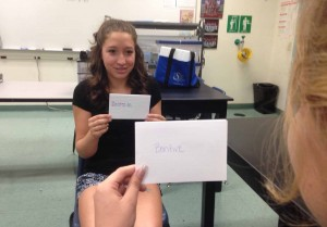 Students, like Jenna Rosario, 9, can use flashcards to help them remember old vocabulary words from foreign language classes. Photo by Maddie Baker