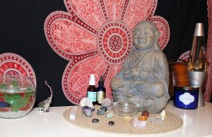 Different aromatherapy scents and chakra stones are known to help meditators get in their zen. Photo by Rayne Hayes
